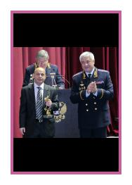Handing of the prize of the MIA of the Russian Federation in the area of Arts, 2014. On the right; Minister of MIA colonel-general of the police, V.A. Kolokoltsev. On the left: Alexander Samvel (Alexander Georgievich Georgyan).